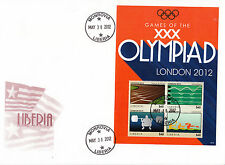 Liberia 2012 FDC London Olympics 4v Sheet Cover Track Swimming Olympics Games