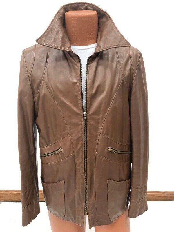 Genuine Vintage 1970s Brown Leather Blazer Jacket… - image 4