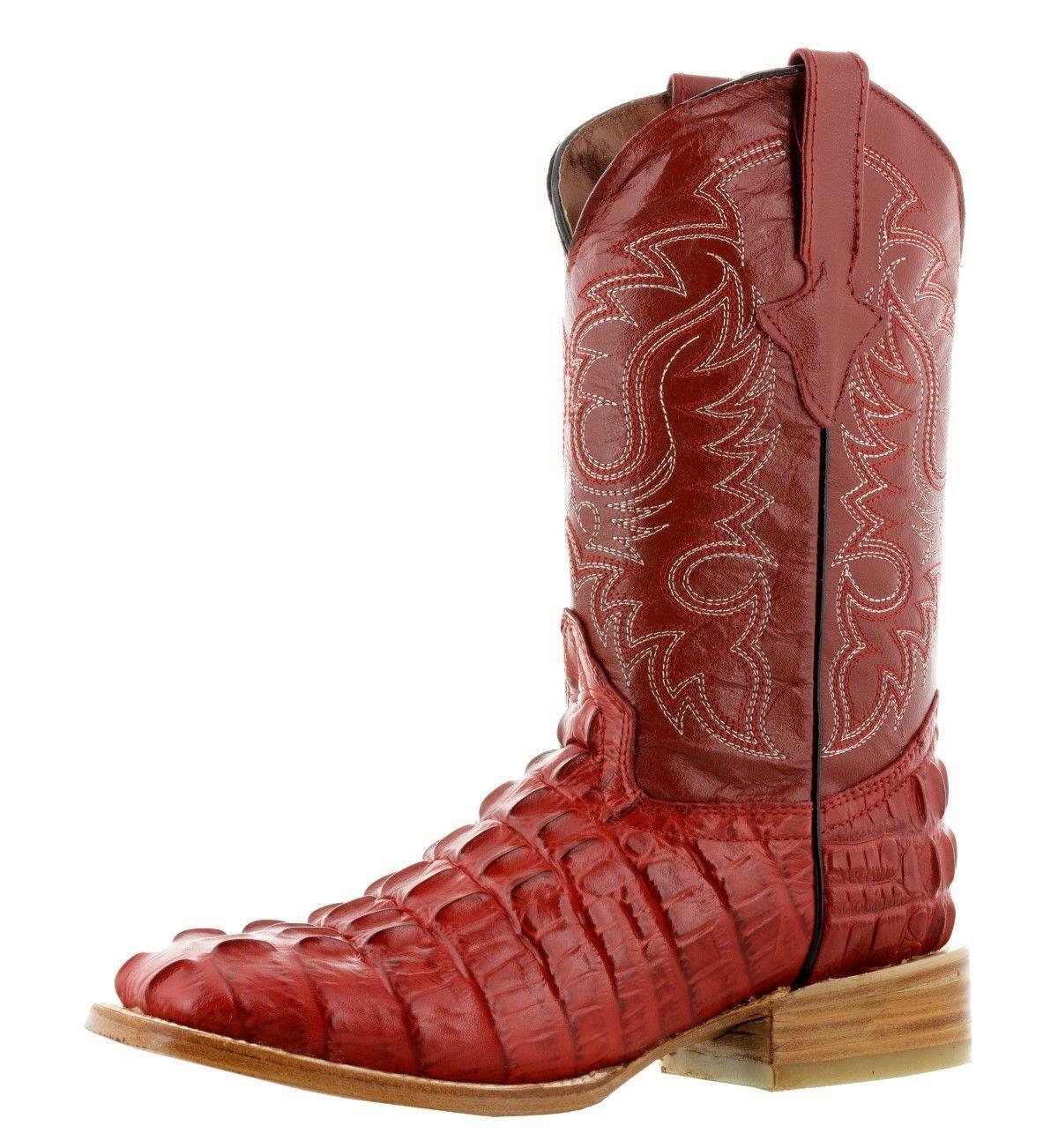 Hombre Nuevo Diseño Cola De Cocodrilo Cuero Occidental botas De Vaquero Rodeo Cuadrado Rojo