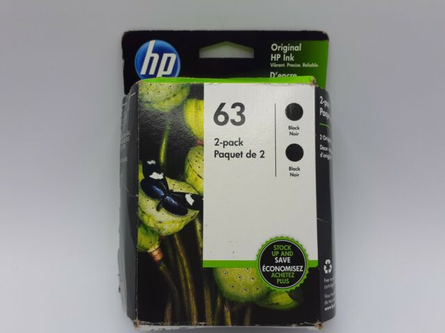 HP 63 Black Ink Cartridge 2 Pack Twin T0A53AN New Genuine Exp 12/2021