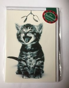 039-Comfort-amp-Joy-039-Laughing-Tabby-Cat-Mistletoe-12-small-Christmas-cards-SALE