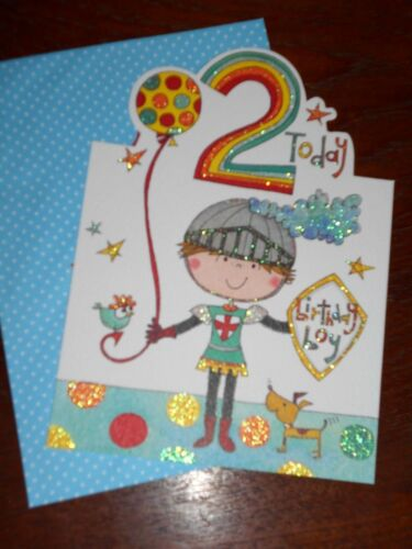 ~ glittered  Birthday Birthday Boy ~ 2 today greeting card ~ free postage