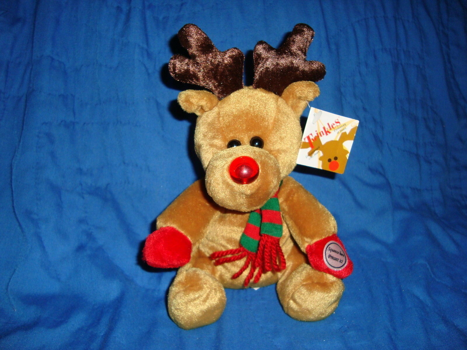 1999 Sears Christmas Plush Beanbag Reindeer TWINKLES W Blinking nose & Tags