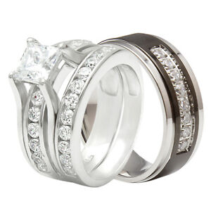Pcs hers 925 sterling silver his black titanium wedding ring band set