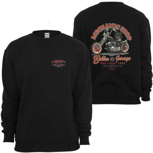 Sweatshirt Schwarz HD Biker Chopper-/&Motorradmotiv Modell Mechanic Shop