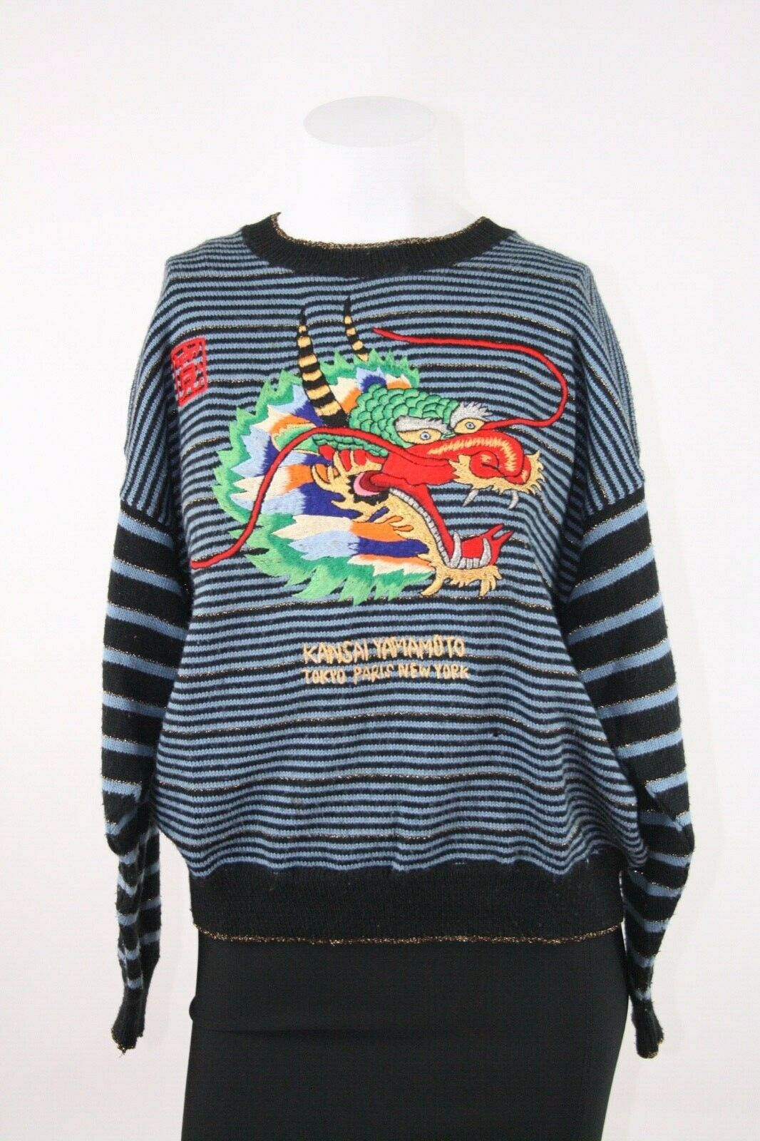 Vintage Kansai Yamamoto Embroidered Dragon Gold/B… - image 1