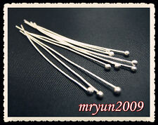 Free 100PCS Jewelry Design Repair SILVER PLATED BALL PINS HEAD PINS Finding 40MM