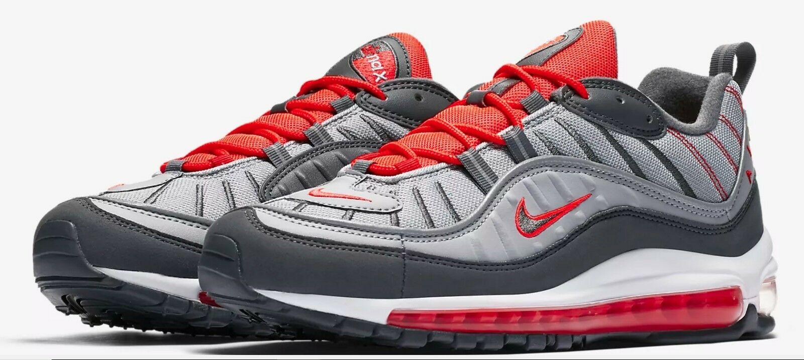 NIKE AIR MAX 98 WOLF GREY DARK GREY CRIMSON RUNNING MEN SIZe 10  640744-006