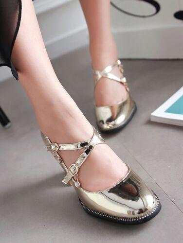 irregolare alla con pelle caviglia Jane scarpe Sz Mary tacco cinturino verniciata Lolita tacco Women in w0IHqR