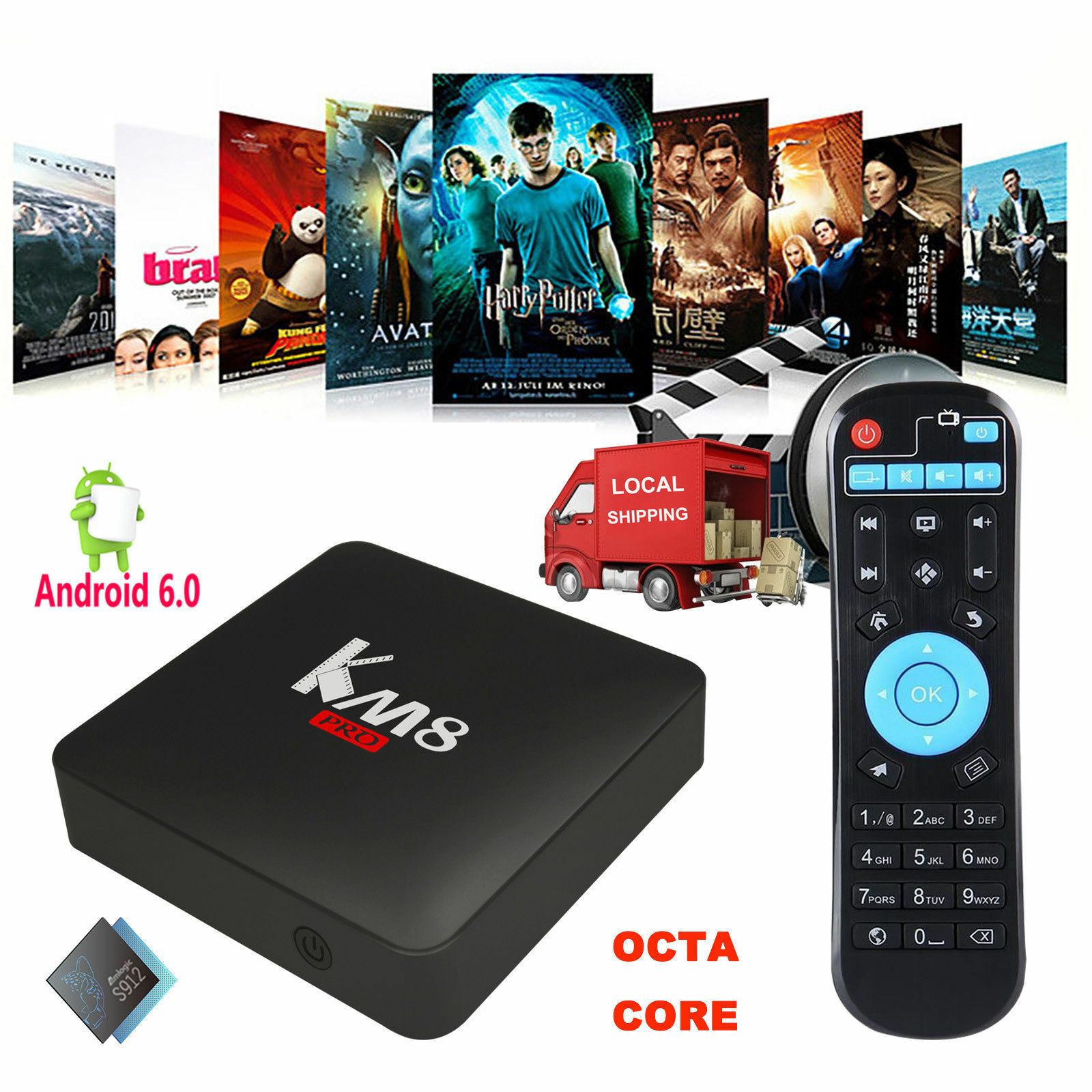 Octa Core Amlogic S912 Android 6.0 2+8GB 4K Smart TV BOX KM8 PRO Network Media X