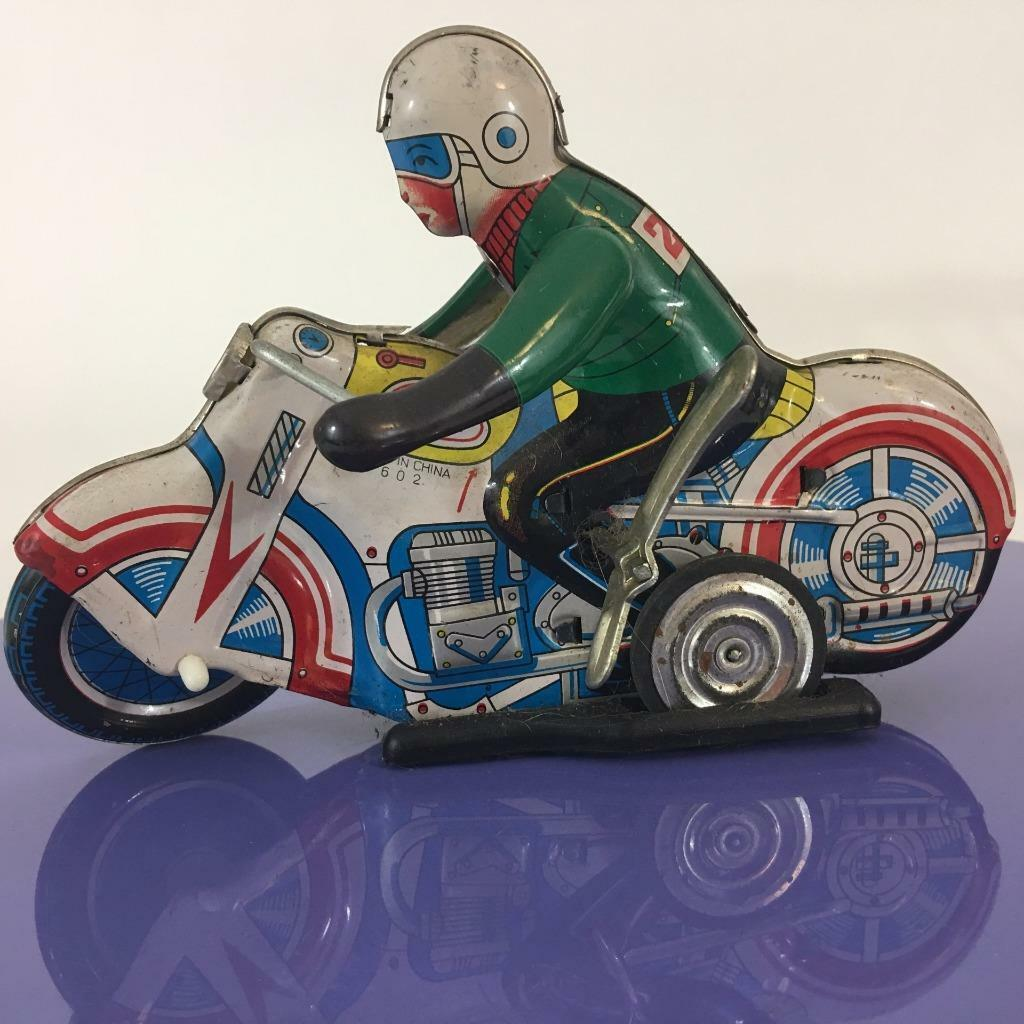 Wind Up Tin Toy Motorcycle Mechanical 1970's MS-702 Runs FAST See Video Exc