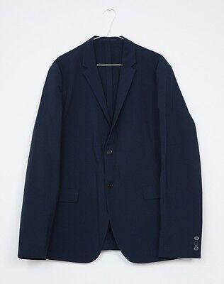 Hof115 Cos Mens Jacket Cotton Texture Navy Seersucker Blazer Navy