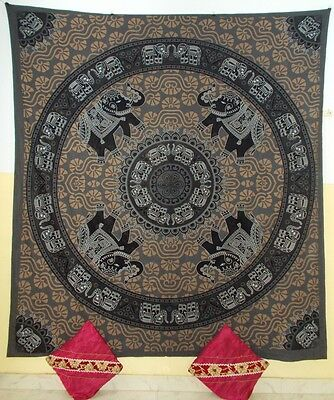 Indian Wall Hanging Tapestry Elephants Print Queen Bed Sheet Bedspread Throws