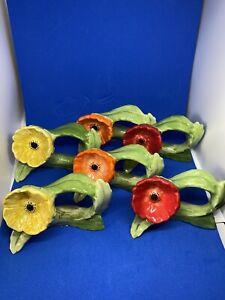 Ceramic Poppy Napkin Rings Set Of 6