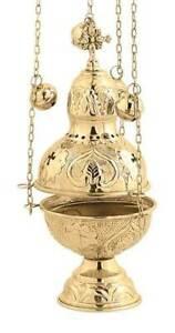 Christian-Church-Brass-Liturgy-Thurible-Censer-4-chains-12-bells-free-shipping
