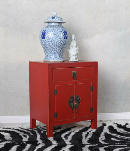 schrank Feng Shui Nachttisch Nachtkommode Nachtkonsole China Rot Schränkchen