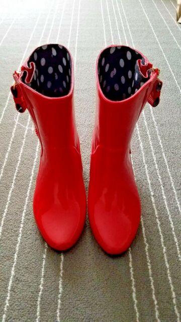 New Kate Spade New York Penny Rain Ankle Rubber Boots Sz 6 -7638
