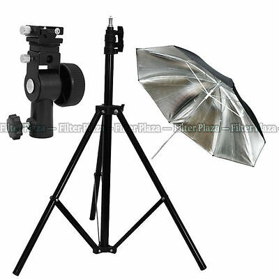 "Pro Studio Light Stand + Flash Speedlite D Bracket Mount +33""Silver Umbrella Kit"