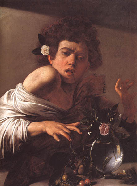 BOY BITTEN BY A LIZARD ITALIAN BAROQUE 1593 PAINTING BY CARAVAGGIO REPRO
