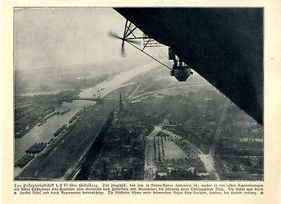 Das Passagierluftschiff Lz Vi über Heidelberg C.1910 100% Original Transport Bilder & Fotos
