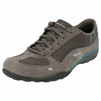Skechers Just Relax Ladies Lace Up Charcoal/blue Lightweight Breathable Trainers