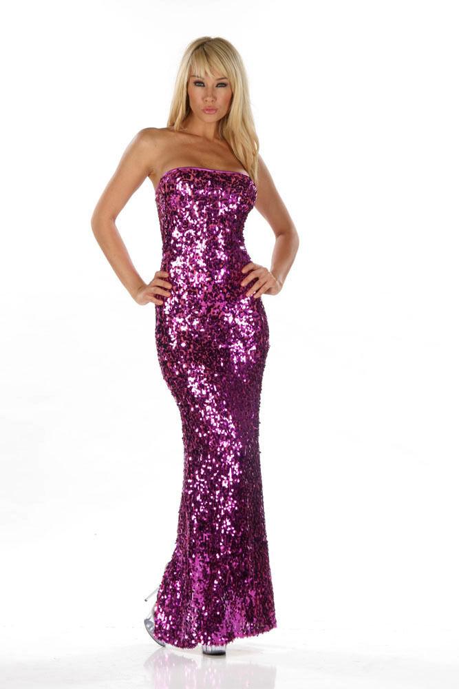 Sexy Abendkleid Show Neckholder Gold Gr.36-38  Kleid Pailetten Handmade in USA