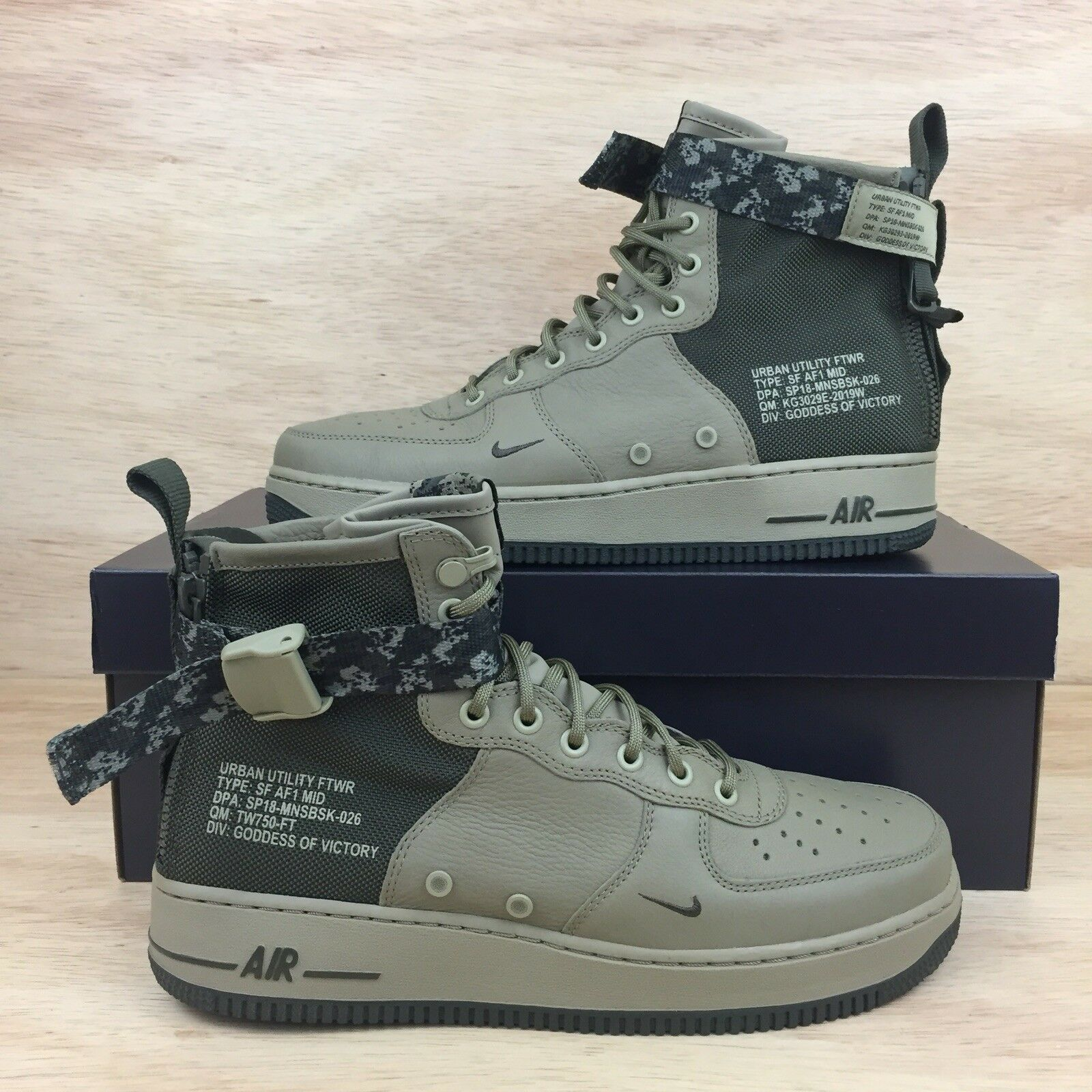 Nike SF AF1 Air Force 1 Special Forces Gree  Camo Olive Men's shoes Mens SZ 10.5