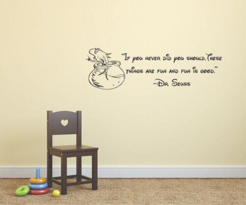 Dr Seuss Fish in Bowl Quotes Wall Decals Vinyl Art Stickers Kids Children Walls