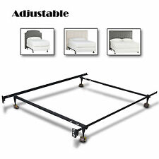 Metal Bed Frame Adjustable Twin Full Queen Size w/ Roller Heavy Duty New Modern