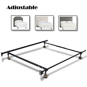 metal bed frame adjustable twin full queen size w roller heavy duty new modern ebay. Black Bedroom Furniture Sets. Home Design Ideas