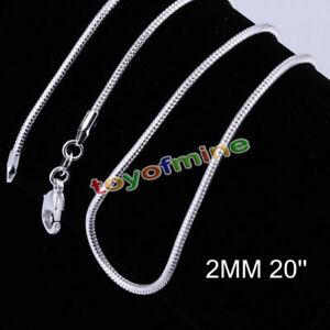 Todo-Precio-Plata-De-Ley-925-SP-Collar-Cadena-Serpiente-2MM-40-6cm-61cm