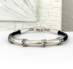 TAXCO-Sterling-Silver-925-Leather-Stack-Stacking-Mexico-7-5-034-Bangle-Bracelet