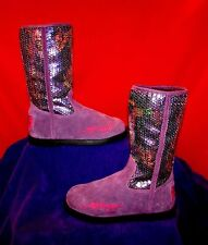 ED HARDY PURPLE SEQUINED GEISHA GIRL BOOTS YOUTH GIRLS SZ 5 / WOMEN'S SZ 6.5