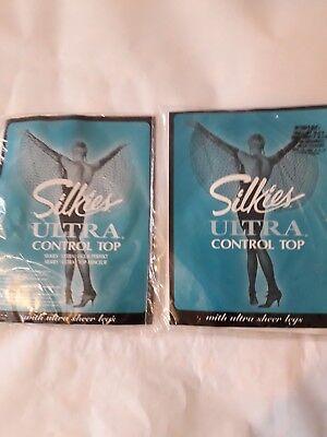 2 Paio Di Controllo Silkies Ultra Sheer Gamba Nylon Collant Collant. Taglia Small-mostra Il Titolo Originale Una Vasta Selezione Di Colori E Disegni