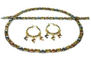 Hugs-amp-Kisses-Necklace-3-Tone-Bracelet-Hoops-Set-XO-tri-color-Dolphin-Earrings