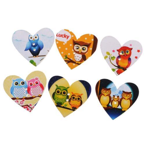 50pcs Heart Shaped Wooden Owl Buttons Sewing Button Craft Scrapbooking DIY