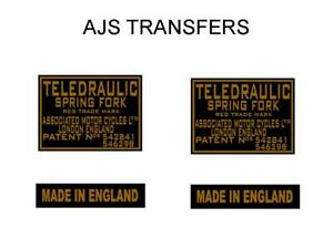 To-Fit-AJS-and-Matchless-Teledraulic-Fork-Transfers-Gold-Black-DAJS9