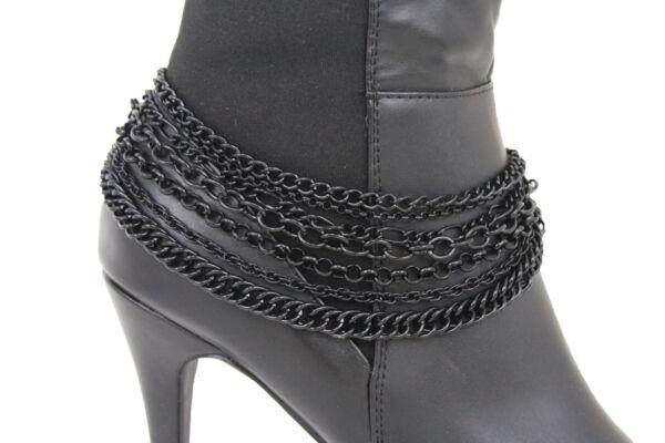 Donna Stivali Braccialetto Nero Catena Di Metallo Bling Cavigliera Pendente