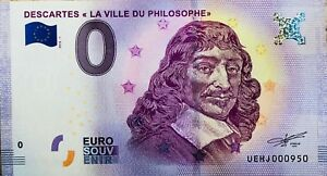 """BILLET 0 ZERO EURO SOUVENIR TOURISTIQUE DESCARTES """"La Ville Du Philosophe"""" 2018"""