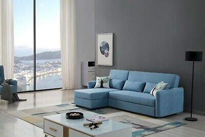 2PC Modern Light Blue Velvet Fabric Sofa Chaise Sofa Bed Storage Sectional  Set | EBay