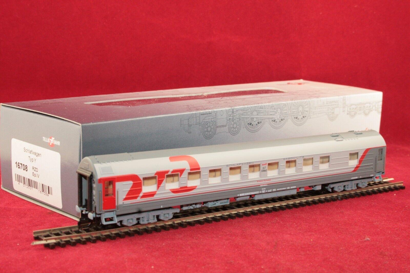 Tillig TT 16708 RZD vagone letto in grigio/rosso con formatura /Nuovo/Scatola Originale