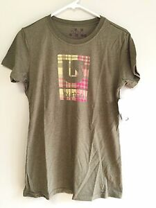 Burton-Women-039-s-Tee-Shirt-T-Shirt-M-S-XS-Capers-Heather-Gray-Brown-New-w-Tags
