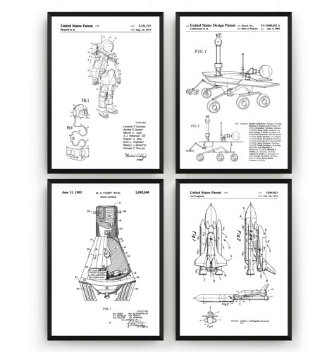 Outer Space Set Of 4 Patent Prints Unframed NASA Poster Wall Art Decor Gift