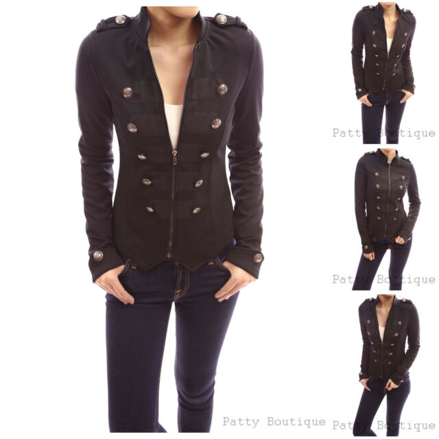 Smart Black Zip Up Front Long Sleeve Stand Collar Military Style Light Jacket
