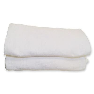 White Thermal Hospital Blanket Twin Size 66X90 Snagfree 100% Cotton Brand New