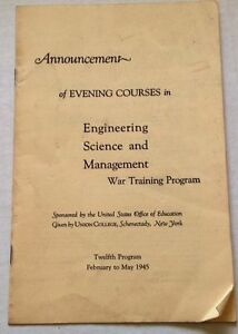 Union-College-Program-1945-Schenectady-NY-Vintage-War-Training-Evening-Course