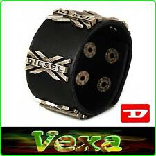 New DIESEL Luxury Genuine Leather Bracelet Black Bangle Wristband Mens Surf BD26
