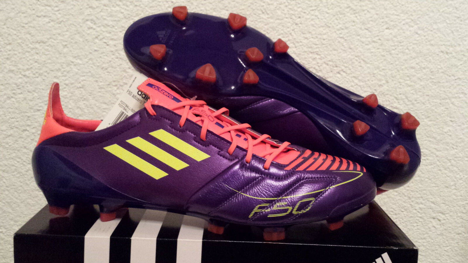 Nuevo adidas f50 ADIZERO TRX FG cuero 12 UE 47 1 3 botas de fútbol rare Projoator