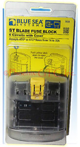 Blue Sea 5026 ST Blade Fuse Block With Cover 12 Circuit With Negative Bus