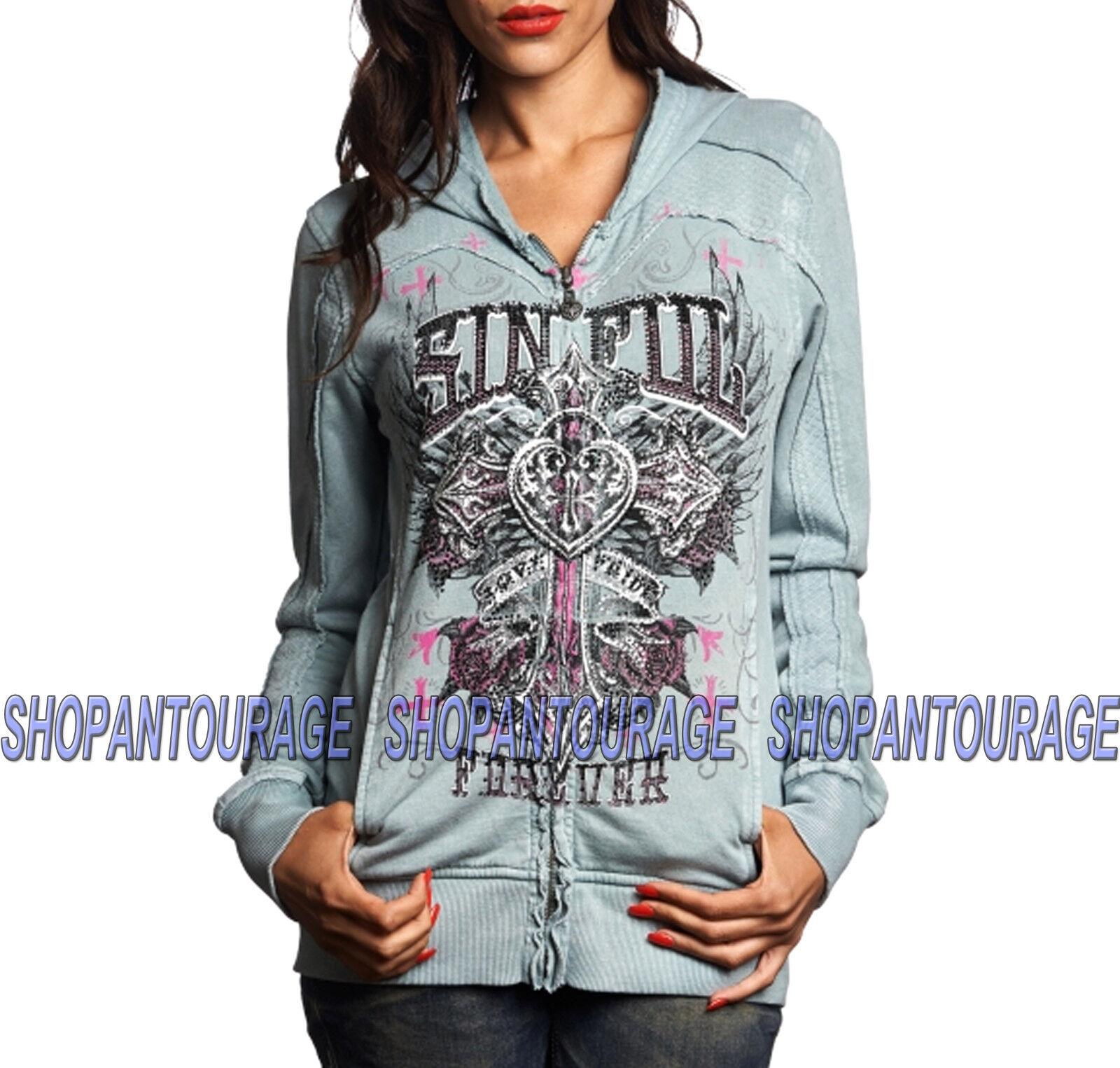 SINFUL Maritza S3548 New damen`s grau Paneled Zip Hood Jacket By Affliction